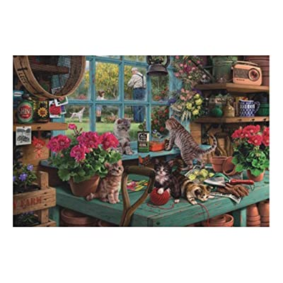 WOCACHI Adults Puzzles 1000 PCS Window Sill Cat Puzzle Game Personalized Wooden Family Garden Landscape Pattern Kids Brain Games Teaser Daily DIY Pastime at Home Leisure Game Fun Toys Gift Sale: Toys & Games