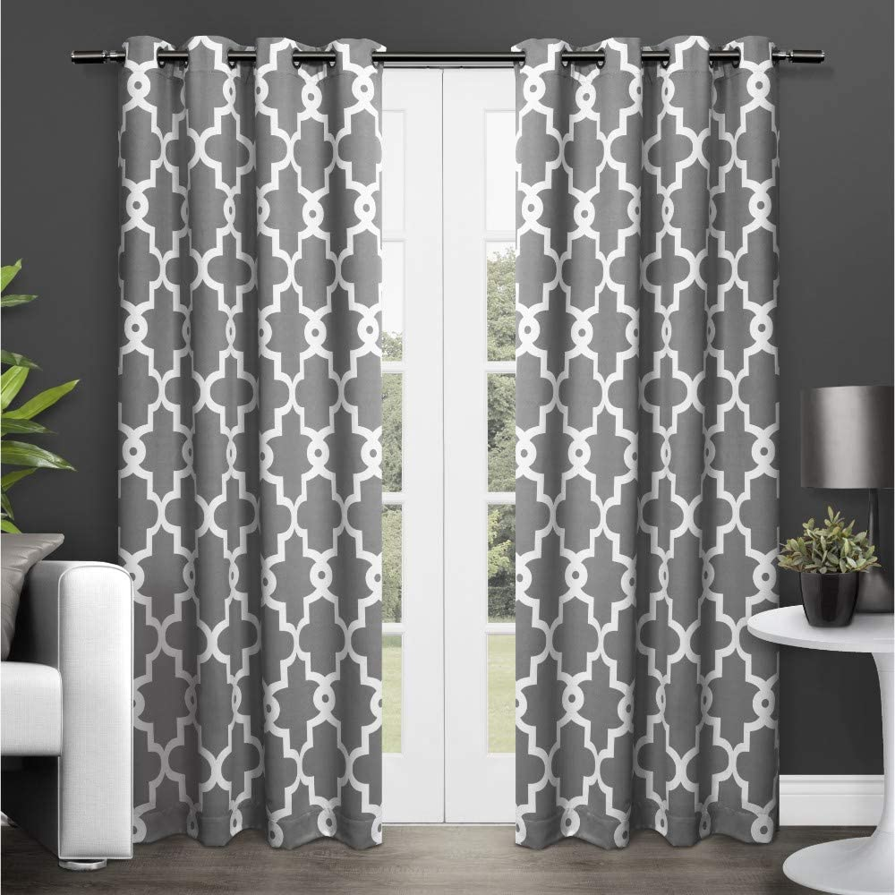 Exclusive Home Curtains Ironwork Sateen Woven Blackout Grommet Top Curtain Panel Pair, 52x96, Black Pearl, 2 Count
