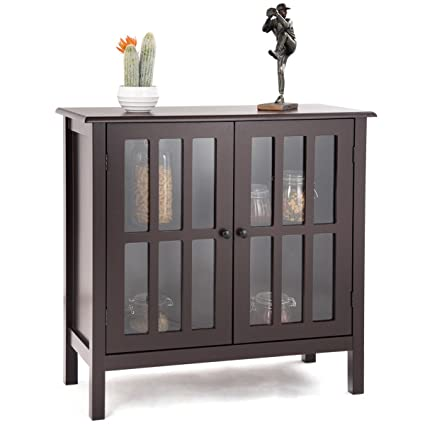 Custpromo Storage Buffet Cabinet Glass Door Sideboard Console Table Kitchen Dining Room Furniture Brown