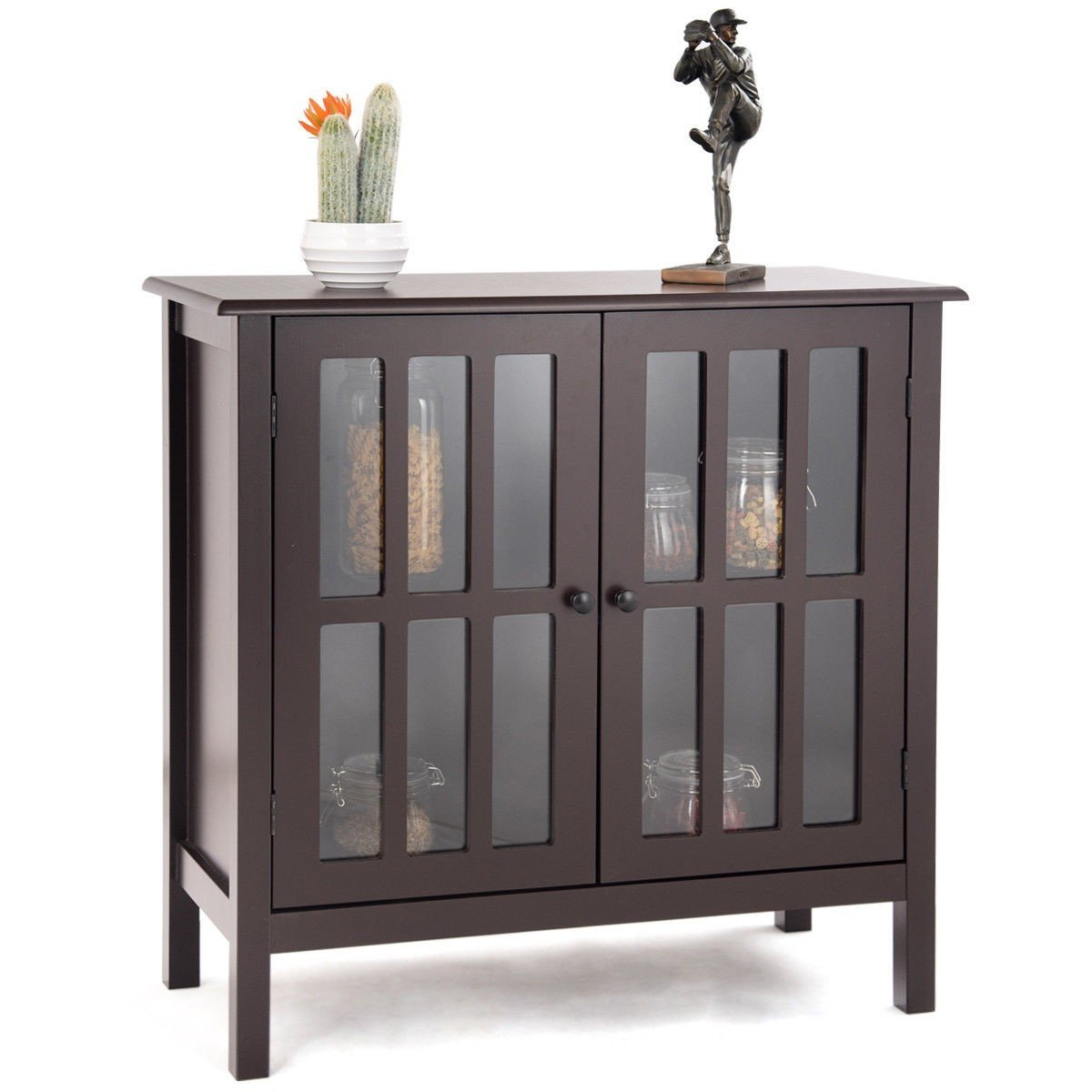 Custpromo Storage Buffet Cabinet Glass Door Sideboard Console Table Kitchen Dining Room Furniture (Brown)