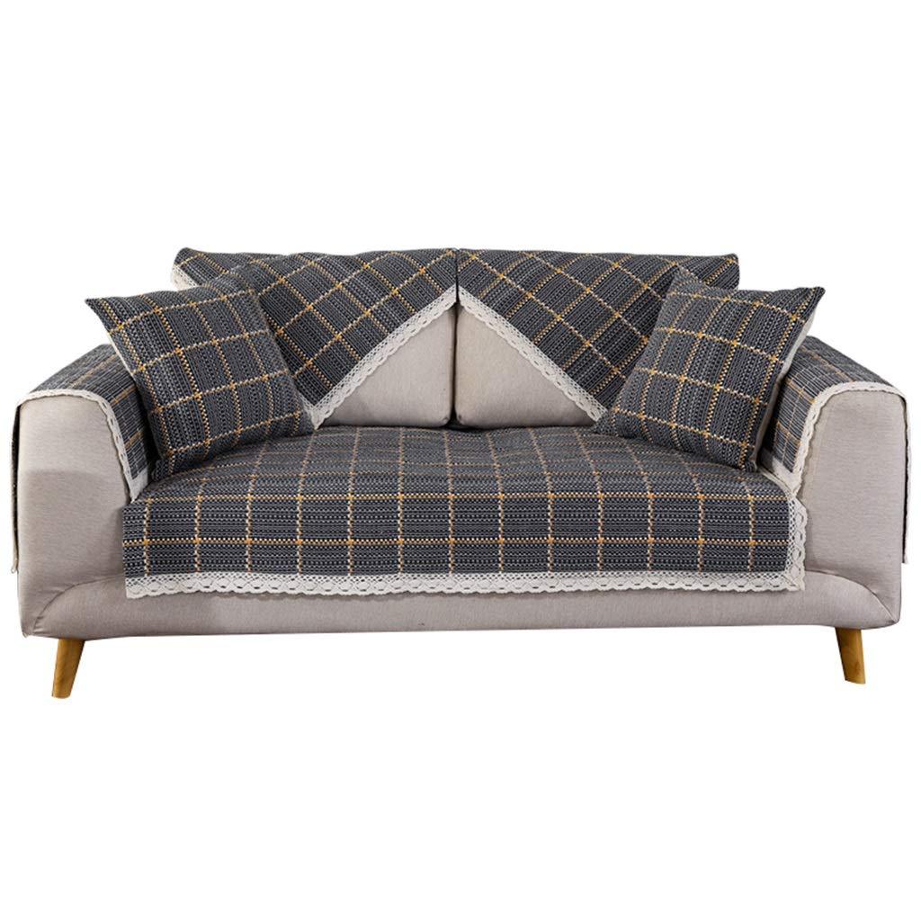 Furniture Accessories Sofa Cushion Cushion Tablecloth British Fabric Sofa Cushion Four Seasons Universal Non-Slip Thickening Combination Cushion Sofa Cover Towel (Color : Gray, Size : 90210cm)