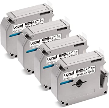 """10PK MK231 M-K231 Black on White Label Tape for Brother P-Touch PT-70HOL 1//2/"""""""