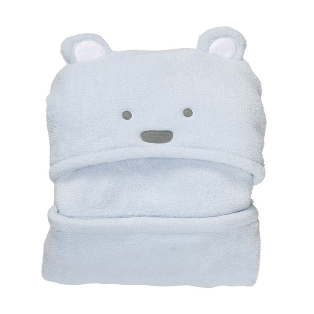 Samber Cartoon Baby Hooded Bath Robe Bath Towel Newborn Bathrobe Soft Newborn Baby Blanket Coral Velvet Little Bear Blanket For Newborn Infant Kids/Light Blue