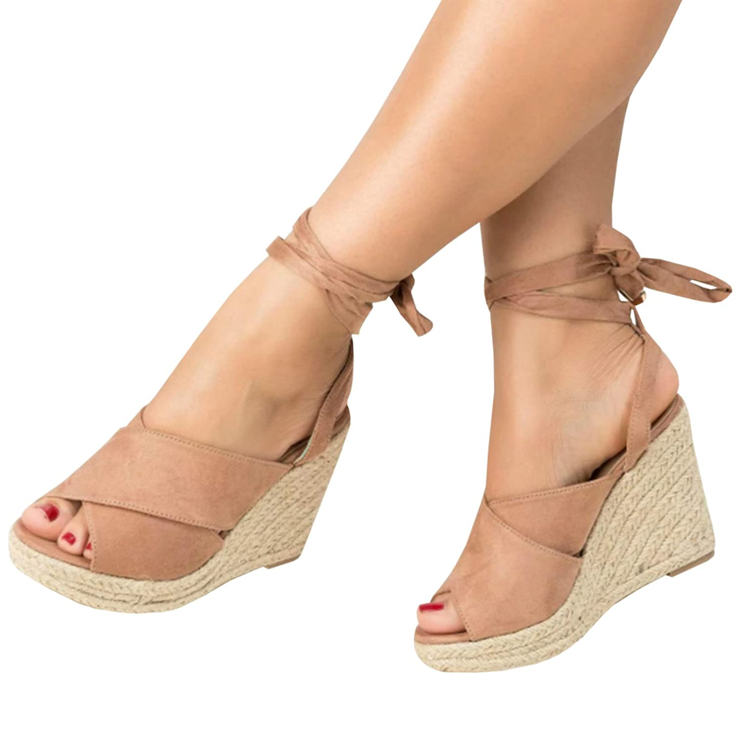 016f1f05ad3 Ermonn Womens Lace Up Wedge Sandals Espadrille Peep Toe Tie Up Strappy Mid  Heel Braided Sandals