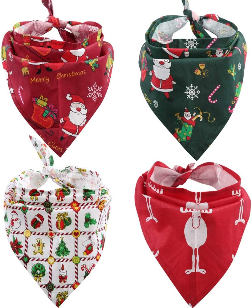 Lamphyface Dog Bandana Christmas Pet Triangle Head Scarf Accessories Bibs for Dog Cat
