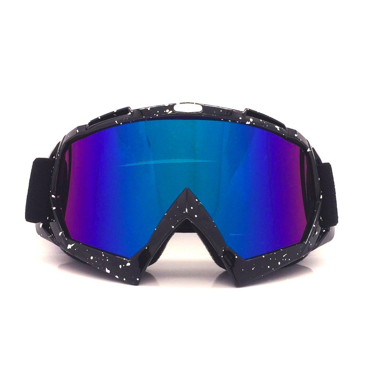 jiele Motocross Goggle, Ausrüstung Off–Road Brillen, winddicht, staubdicht, UV 400Schutz Objektiv Biegbares OTG Rahmen, Erwachsene Motocross Bike Offroad Brillen (Vierfarb)