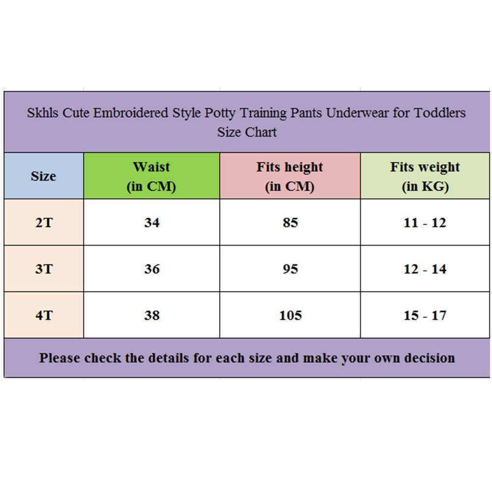 Skhls Cute Embroidered Style Potty Training Pants Underwear for Toddlers