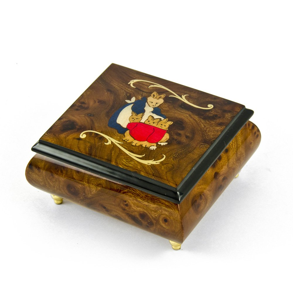 Handcrafted 18 Note Wood Tone Beatrix Potter Music Box with Momma w/ Babies Inlay - Take Me Out to the Ball Game
