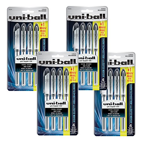 uni-ball Vision Elite Rollerball Pens,Value Pack Bold Point (0.8mm), Black, 16 Count