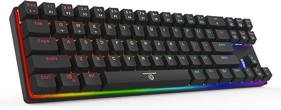 Drevo Calibur Teclado mecánico Bluetooth 71 teclas retroiluminado RGB Switch Azul, color Negro