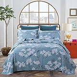 Dodou European Style Quilt Garden Theme Patchwork Bedspread/Quilt Sets 100% Cotton Queen Size 3pcs