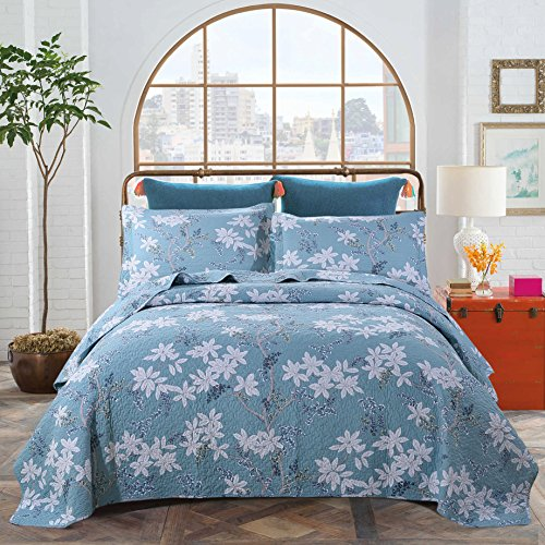 Quilt Cover Sets King Size, Cotton Quilted Bedspread Sets King Coverlet Bedding Sets 3- Piece, 1 Quilt, 2 Pillow Shams (Style-4)