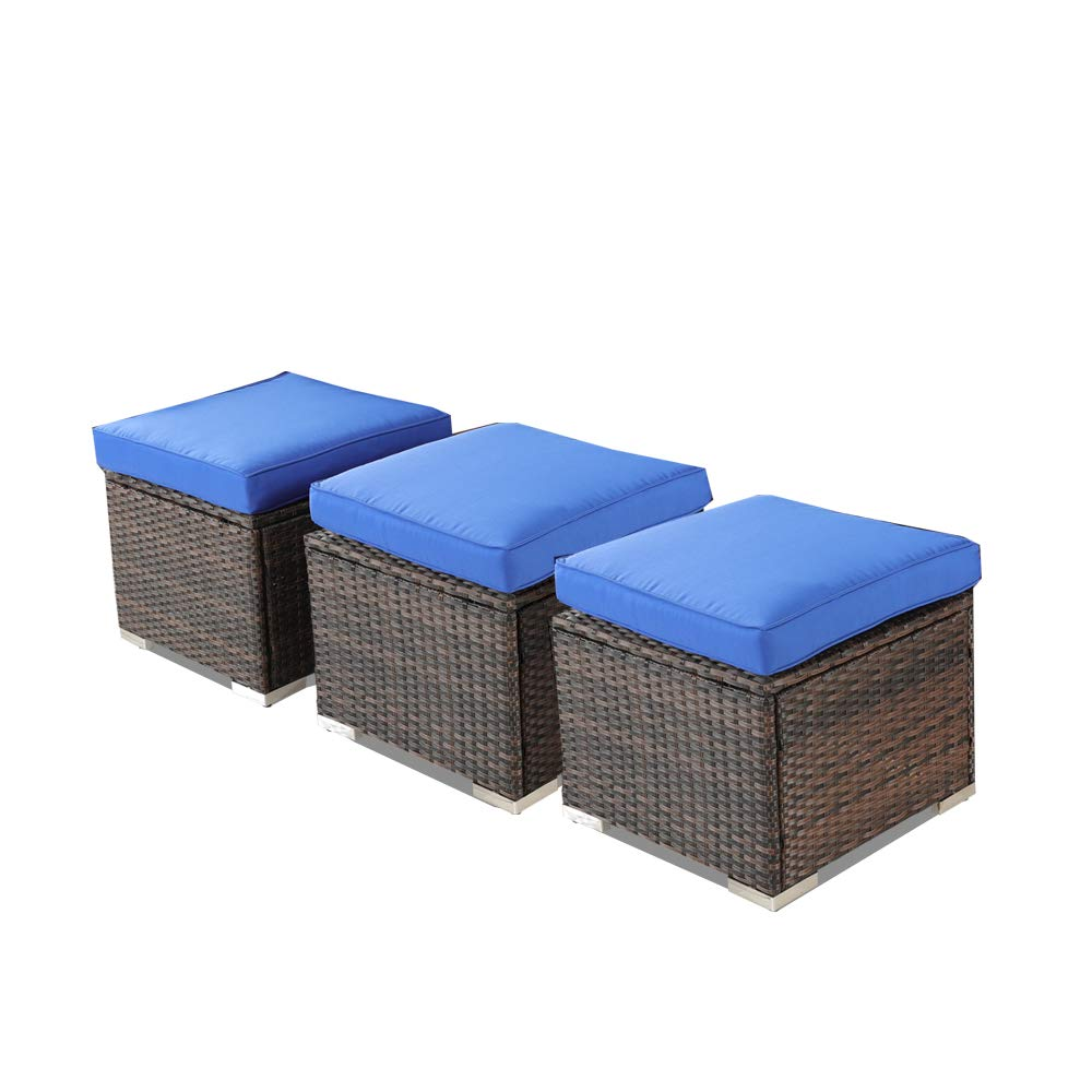 Rattan Ottoman Patio Wicker Footrest w/Cushion Outdoor Seating Set of 3 Brown Rattan Royal Blue Cushion by Leaptime