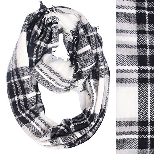 Lucky Leaf Women Winter Checked Tartan Scarves Warm Plaid Infinity Scarf (Black White Plaid)