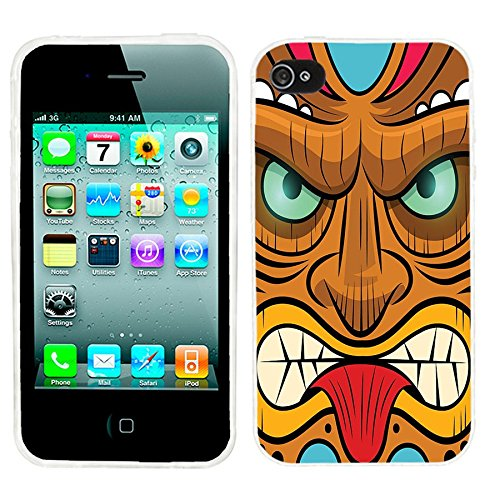 iPhone 4s Case, iphone4s case,iphone 4 case,iphone4 case, ChiChiC full Protective unique Stylish Case slim durable Soft TPU Cases Cover for iPhone 4 4g 4s,yellow red mint tribal tiki mask