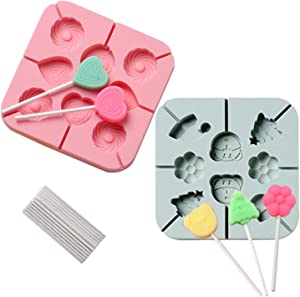 Lollipop Mold 2 Pack 8 Cavity Chocolate Hard Candy Sucker Molds Heart Bear Shapes with 20 Pieces Lolipop Sticks for Kids