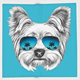 Cotton Microfiber Hand Towel,Yorkie,Yorkshire Terrier Portrait with Cool Mirror Sunglasses Hand Drawn Cute Animal Art,Blue White,for Kids, Teens, and Adults,One Side Printing