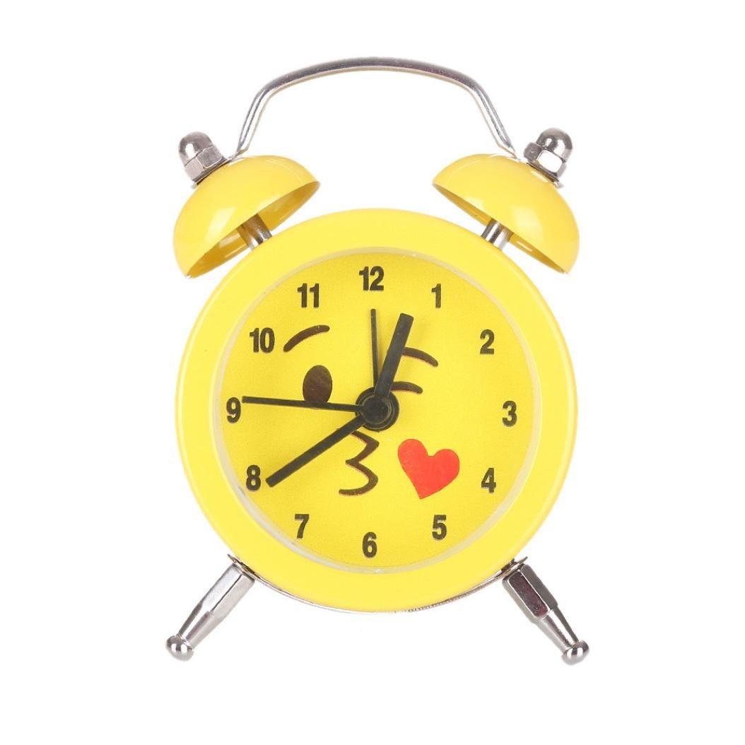 "LiPing3"" Fashion Mini Cute Emoji Sunrise Alarm Clock - Silent Alloy Stainless Metal Clock (B)"