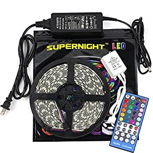 SUPERNIGHT Flexible LED Strip Light - 16.4 Ft 5050 RGBW 300LEDs 44key Music IR Controller Waterproof Color Changing Full Kit with 24V 3A Power Supply for Holiday Party Decoration