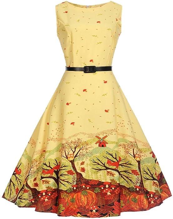 Vestido de Fiesta ❤️LuckyGirls Mujer Sin Manga Vintage Hepburn Amarillo Pintura Coctel Partido Vestido de Noche