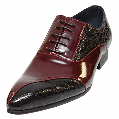 65c010cd401 Fiesso Burgundy Encore Dress Shoes for Men – Closed Leather Oxfords with  Pointed Toe and Stacked