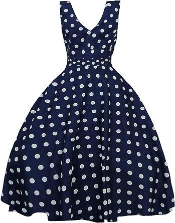 Looking Glam Vestido Pin Up Retro de los 50 para Damas Lunares ...