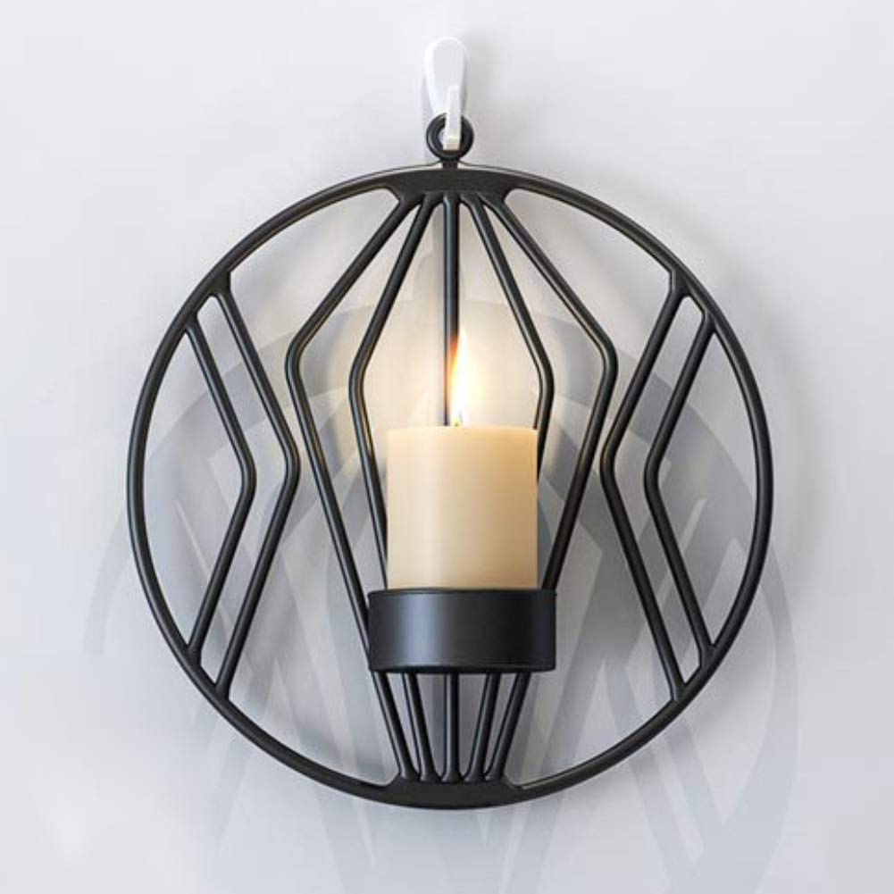 Black Home Decoration,Geometric Round Hanging Candlestick Sconce Wall Candle Holder Home Bedroom Decor