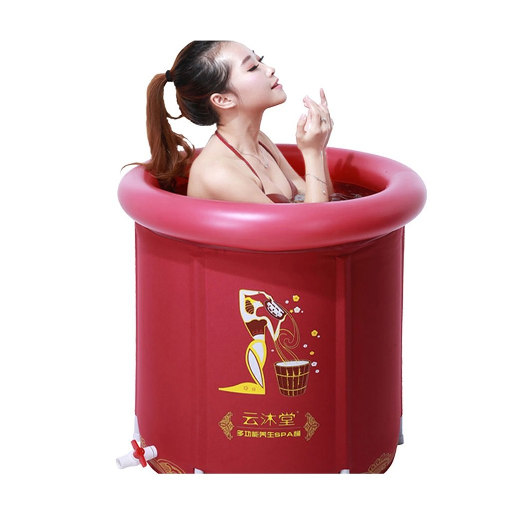 Adult Inflatable Folding Plastic Bathtub Baby Child Bath Tub Durable Dirt/adjustable Height/easy To Fold Red (6070cm) (Color : B)