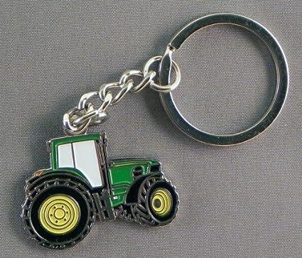 Esmalte de Metal llavero verde excavador Tractor de granja ...
