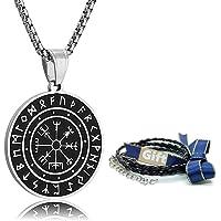 Htulip Collar Vikingo Acero Inoxidable 316L Nórdica Vegvisir Colgante Celta Pagana Brújula Amuleto Collar Joyería para…