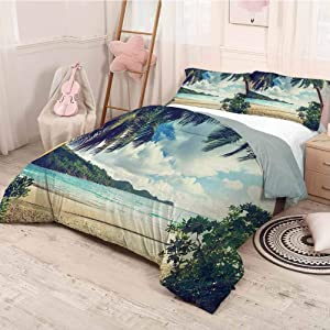 prunushome Palm Tree Bedding-Sets Duvet Cover Summer Beach Vintage Style Tropical Sunset Picture Print Comfy Bedding Extra Lightweight Modern Dark Green Sand Brown Light Blue Twin