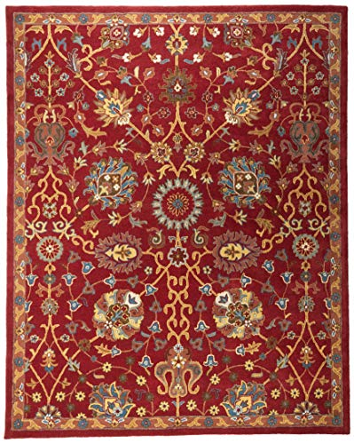 Safavieh Heritage Collection HG655A Handcrafted Traditional Red Premium Wool Area Rug (8' x 10') - Hand Tufted Wool Persian Rug