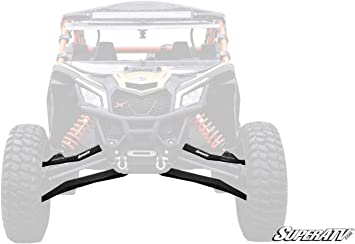 See Fitment - BLACK No Ball Joints Installed 2017+ SuperATV Heavy Duty High Clearance Front A-Arms for 64 Wide Can-Am Maverick X3 900 // Turbo//Max