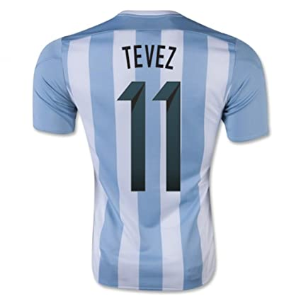 d477a0dd1 Image Unavailable. Image not available for. Color  2015-16 Argentina Home  Football Soccer T-Shirt Jersey (Carlos Tevez ...
