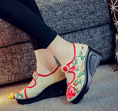 Avacostume Femmes Pivoine Plate-forme De Broderie Wedge Chinois Chaussures De Style Robe Rouge