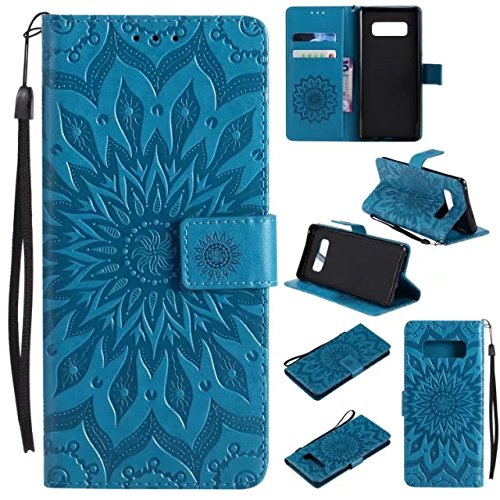 Galaxy Note 8 Wallet Case,A-slim(TM) Sun Pattern Embossed PU Leather Magnetic Flip Cover Card Holders & Hand Strap Wallet Purse Case for Samsung Galaxy Note 8 - Blue