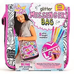 Create an original and functional bag for any occasion with the Just My Style color your own glitter messenger bag! Design a bag that expresses your personal style as you use vibrant colors and colorful gemstone stickers. Carry your essential...