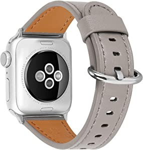 HUAFIY Compatible for apple Watch Band 38mm 40mm Genuine Leather Band Replacement Compatible with Apple Watch Series 6/ 5/ 4/ 3/2/1,SE, Sport and Edition, Khaki grey Band ( Khaki grey+silver buckle)