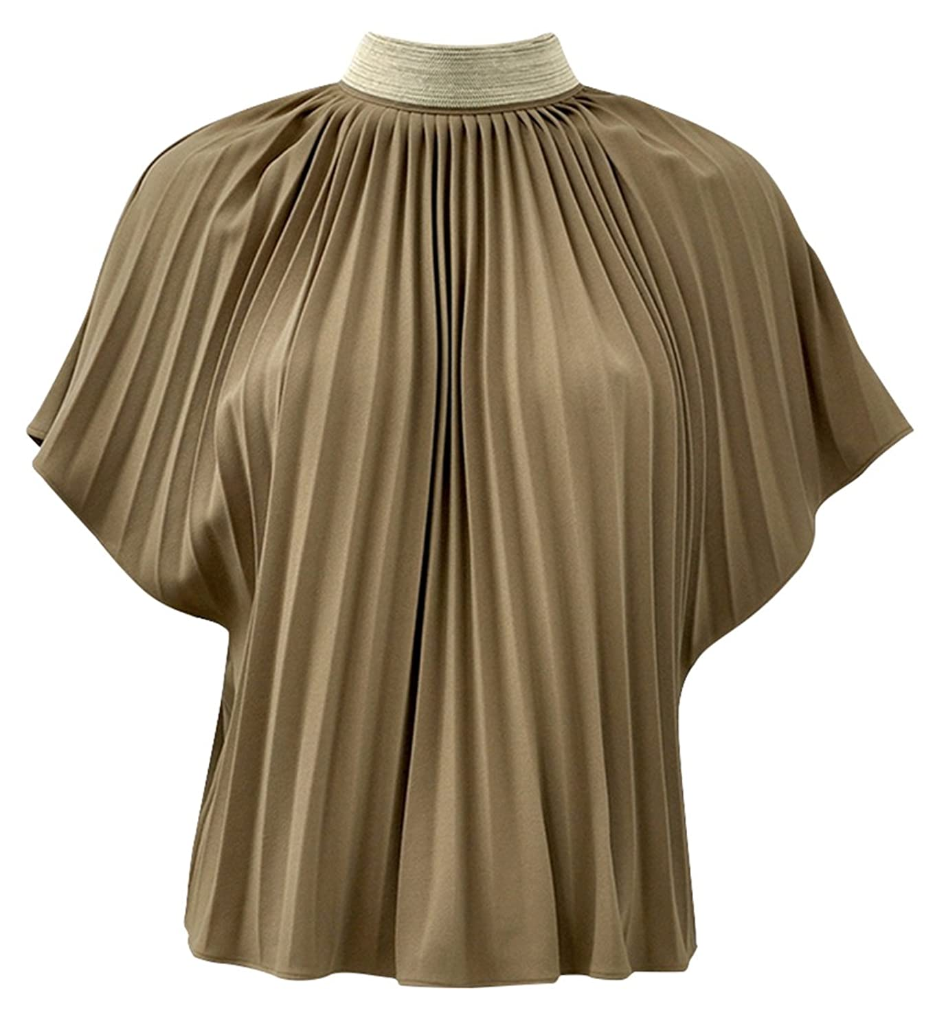 Gracia Women's Embellished Neck Pleated Blouse Top