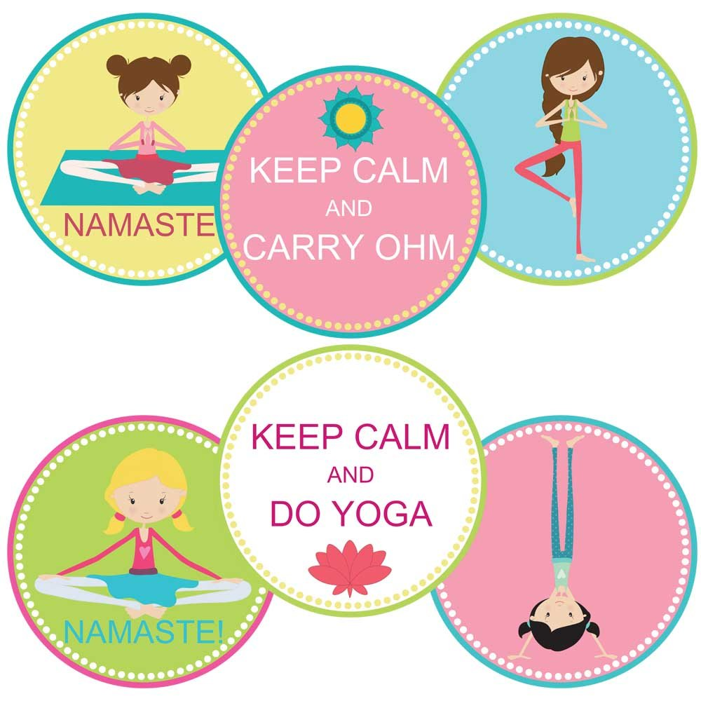 Yoga Thank You Sticker Labels - Girl Teen Ladies Kids Birthday Sport Party Favor Labels - Set of 30
