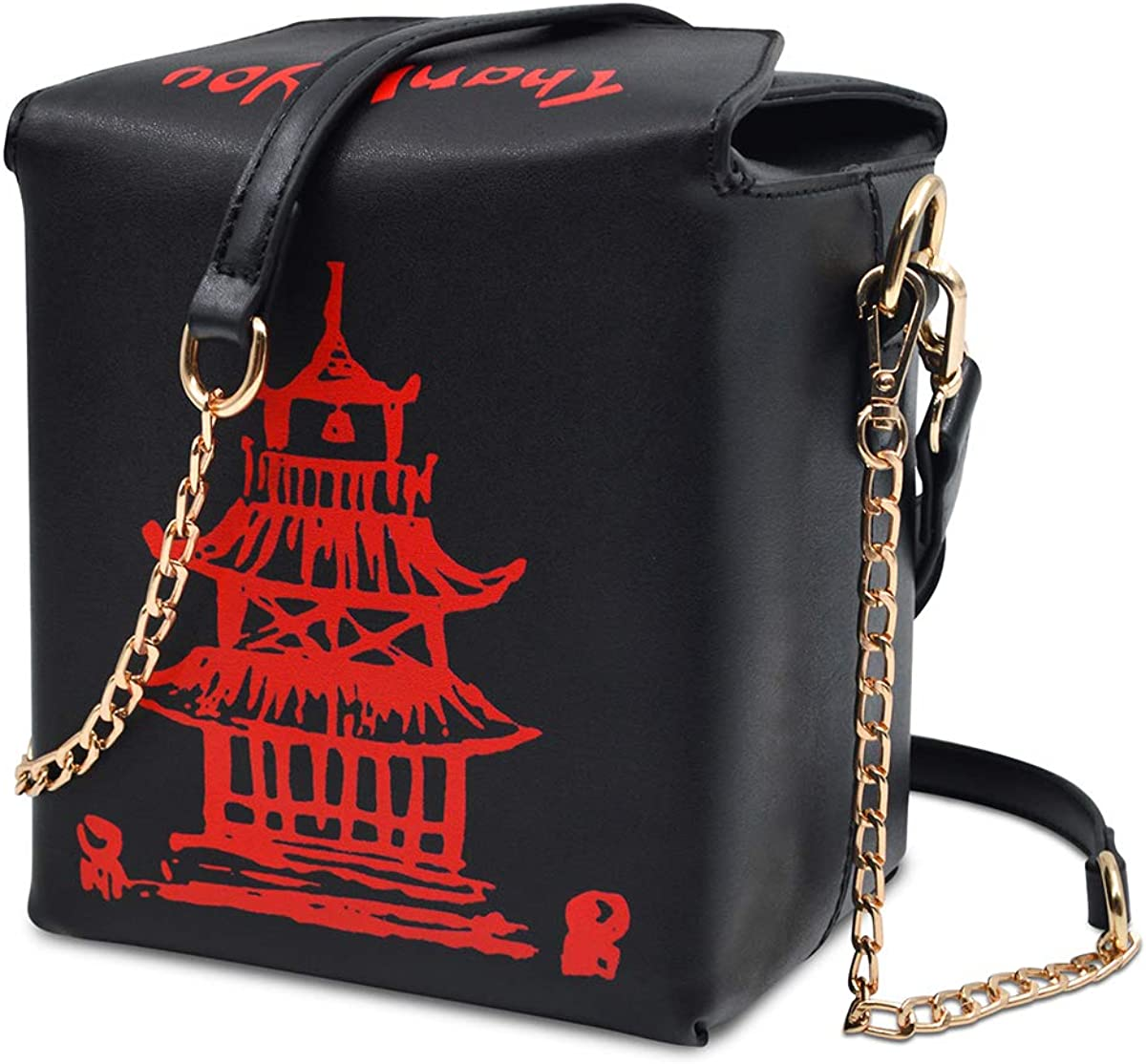 Fashion Crossbody Shoulder Bag, i5 Chinese Takeout Box Purse with Comfortable Chain Strap