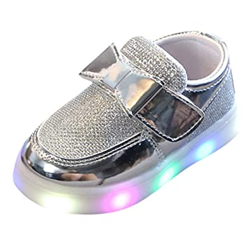 ad496712873 Filles Sneaker Basket Chaussures Mode Princesse LED Lumineux Strass  Brillant Bowknot