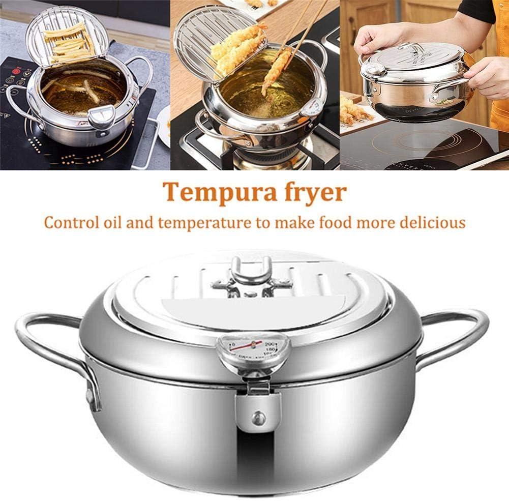 yingmu Friteuse Batterie de Cuisine en Acier Inoxydable Tempura avec thermom/ètre et Couvercle