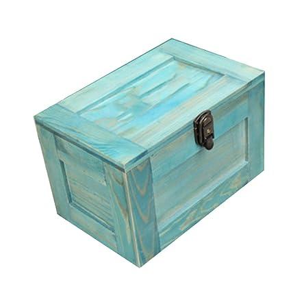 NAN Caja de almacenamiento Caja decorativa Estilo vintage Caja de madera de bloqueo Caja de joyería