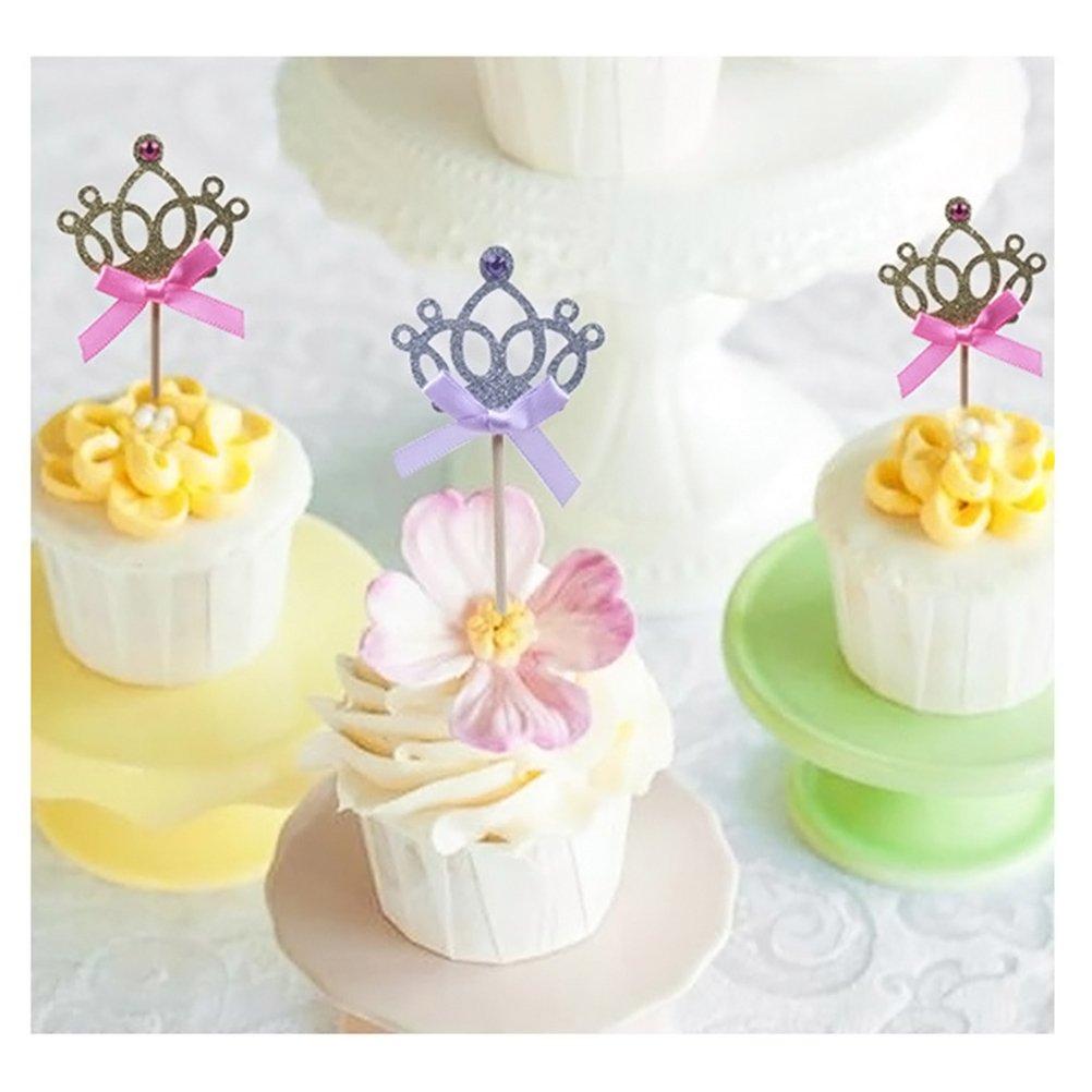 BESTONZON Topper corona glitter con arco fiocco per torte e cupcake 30PCS