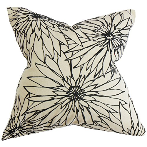 The Pillow Collection Phedora Floral Pillow, Black White (Pillows Toss Kohls)