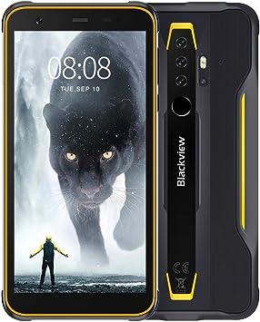 """Blackview BV6300 Pro Móvil Libre Resistente Android 10 Smartphone 4G con Cámara Cuádruple 16MP+13MP, Helio P70 Octa-Core, 6GB+128GB-SD 128GB, Batería 4380mAh, 5.7"""" HD+ Teléfono Robusto, NFC-Amarillo: Amazon.es: Electrónica"""