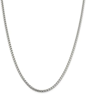 925 Sterling Silver Round Box Chain Necklace