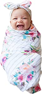 COLOOM Newborn Girls Receiving Blanket Headband Set Flower Baby Swaddle Blankets Infant Warm Striped, one Size (0-6M)