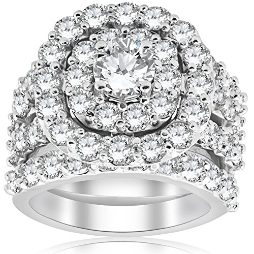 5 CT Diamond Engagement Cushion Halo Trio Engagement Wedding Ring Set White Gold - Size 6